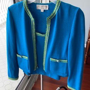 St. John sweater set. Blue green.  Size 2/P.